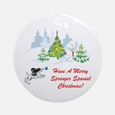 Christmas Springer Spaniel Ornament (Round)