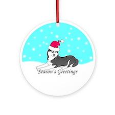 Black Siberian Husky Ornament (Round)