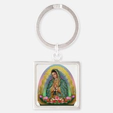 Guadalupe Yellow Aura Square Keychain
