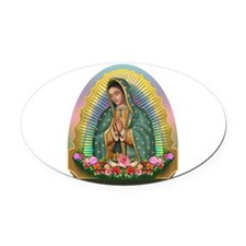Guadalupe Yellow Aura Oval Car Magnet