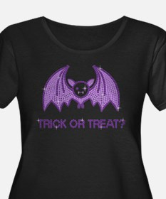 Cute Halloween Rhinestone Bat Plus Size T-Shirt