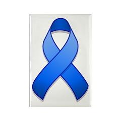Blue Awareness Ribbon Rectangle Magnet (10 pack)