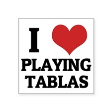 "PLAYING TABLAS Square Sticker 3"" x 3"""