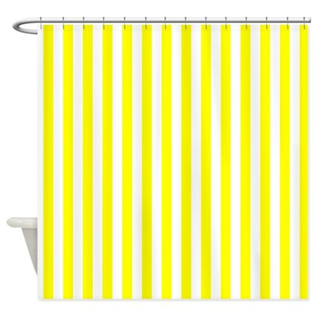 Yellow And White Striped Pattern Shower Curtain By
