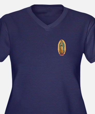 La Guadalupana Women's Plus Size V-Neck Dark T-Shi