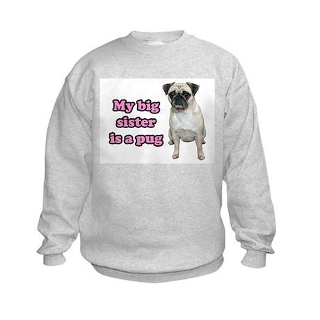 Big Sister Pug Kids Sweatshirt