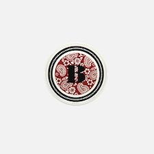 Red Paisley Monogram-B Mini Button
