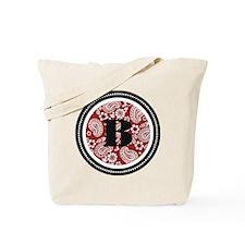 Red Paisley Monogram-B Tote Bag