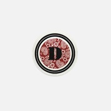 Red Paisley Monogram-D Mini Button