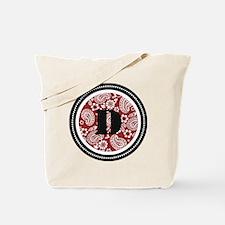 Red Paisley Monogram-D Tote Bag