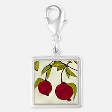 pomegranates Silver Square Charm