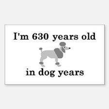 90 birthday dog years poodle 2 Decal