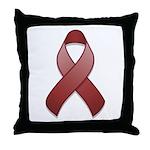 Burgundy Awareness Ribbon Throw Pillow