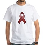 Burgundy Awareness Ribbon White T-Shirt