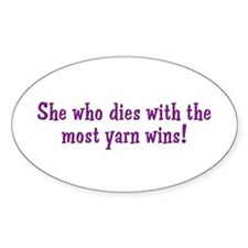 Funny Yarn Quote Oval Decal