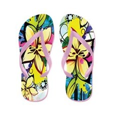 Lilies Among Colorful Splashes Flip Flops