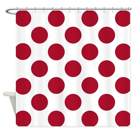 Dk berry red big polka dots shower curtain by hhtrendyhome