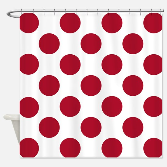 Dk Berry Red Big Polka Dots Shower Curtain