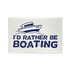 I'd Rather Be Boating Rectangle Magnet