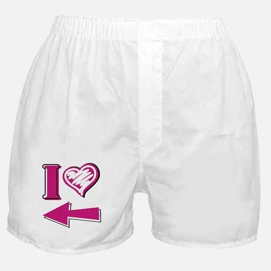 I heart - Pink Arrow Boxer Shorts