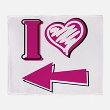 I heart - Pink Arrow Throw Blanket