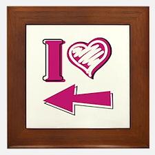 I heart - Pink Arrow Framed Tile