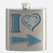 I Heart - Blue Arrow Flask
