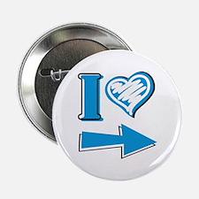 "I Heart - Blue Arrow 2.25"" Button"