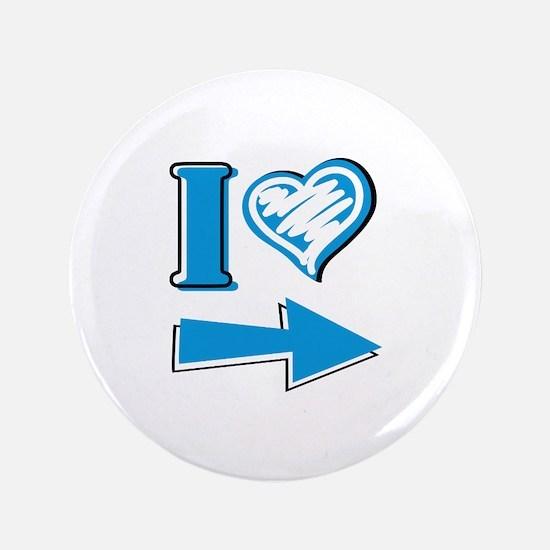 "I Heart - Blue Arrow 3.5"" Button"