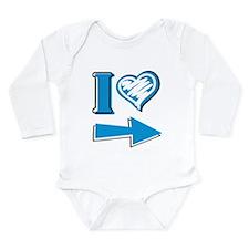I Heart - Blue Arrow Long Sleeve Infant Bodysuit