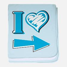 I Heart - Blue Arrow baby blanket