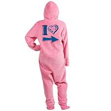 I Heart - Blue Arrow Footed Pajamas