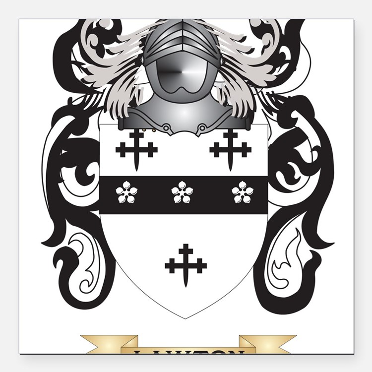 Lawton Coat of Arms - Family Crest Square Car Magn