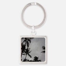 Palm Trees Sillouette Square Keychain