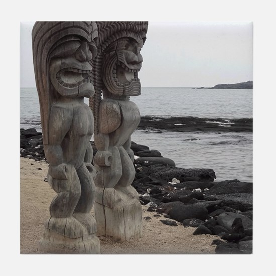 Place of Refuge Tikis Tile Coaster