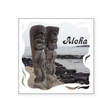 "Place of Refuge Tikis Aloha Square Sticker 3"" x 3"""