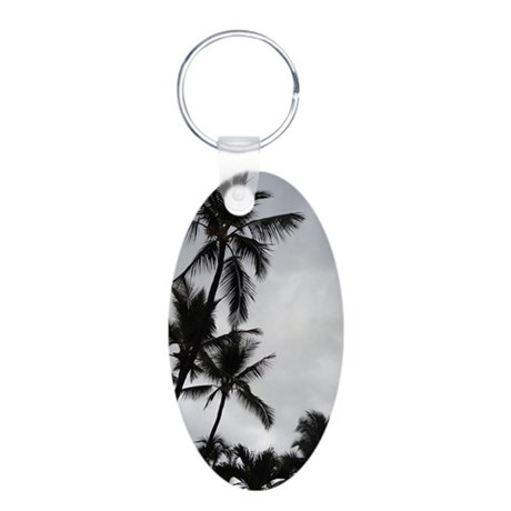 Palm Trees Silhouette Aluminum Oval Keychain