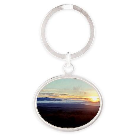 Mauna Loa Sunset Oval Keychain