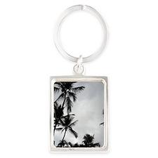 Palm Trees Silhouette Portrait Keychain