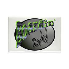 Boardin' Rocks! - Green Rectangle Magnet