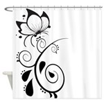 Black and White Butterfly Floral Art Design Shower