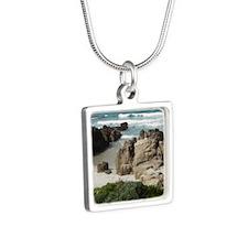 California Ocean 03 Silver Square Necklace