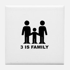 3 is family (first baby) Tile Coaster