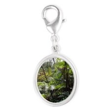Tropical Jungle Silver Oval Charm