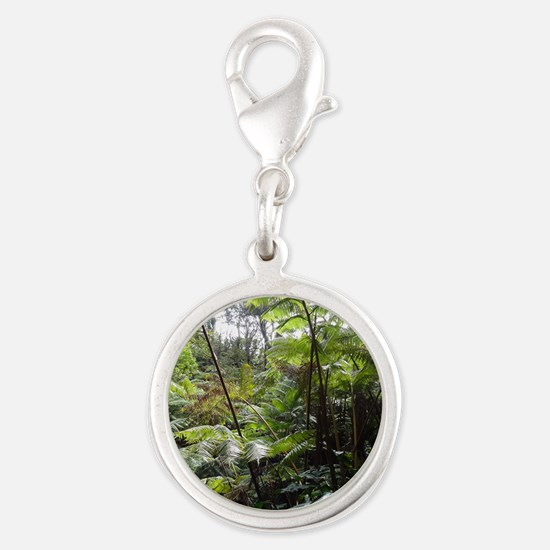 Tropical Jungle Silver Round Charm