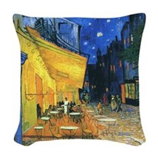 Van Gogh CafeTerrace at Night Woven Throw Pillow