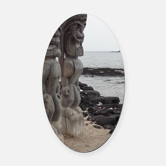 Place of Refuge Tikis Oval Car Magnet