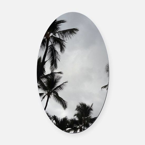 Palm Trees Silhouette Oval Car Magnet