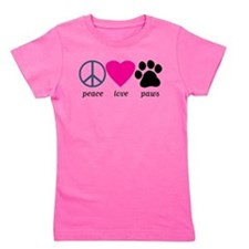 Peace Love Paws Girl's Tee