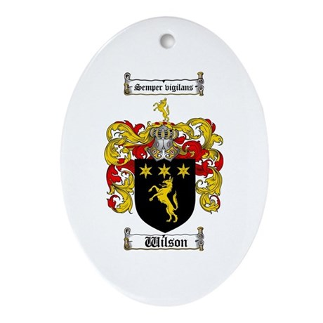 Wilson Coat of Arms Family Crest Oval Ornament